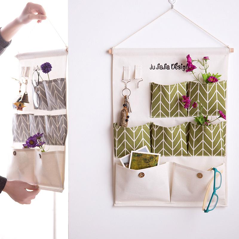 Льняная ткань ткань хранение висит сумка стена подвесной многослойный стена на вешать карман ворота после подвеска стиль мусор хранение мешок чистый черный мешок