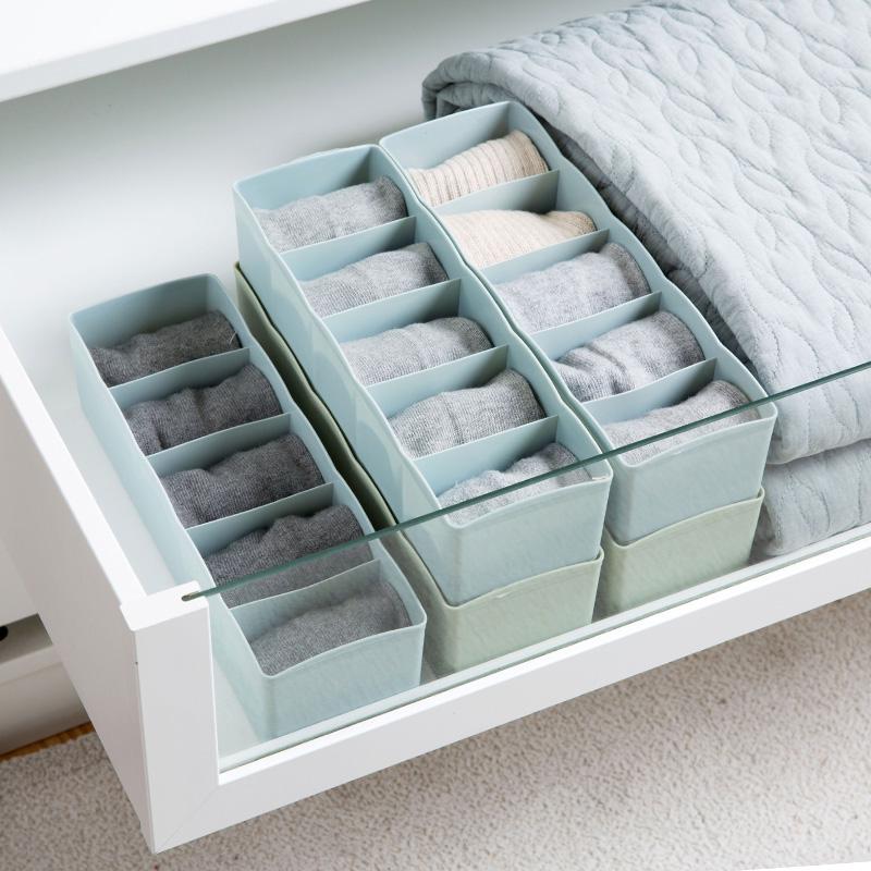 家用抽屉式袜子收纳盒塑料内衣袜子盒桌面抽屉分格盒子内裤整理盒