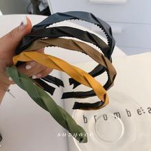 韓國東大門亮黑色皮質交叉頭箍百搭洗臉發箍女簡約設計發飾品頭飾