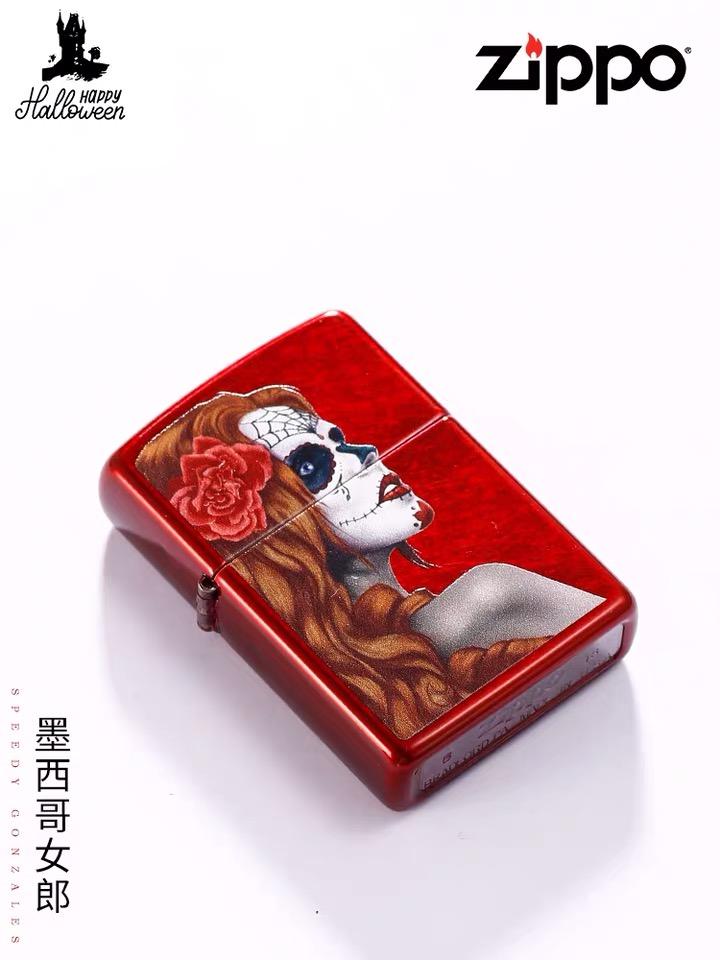 美国原装Zippo墨西哥女郎 红光漆魅影脸谱 芝宝28830
