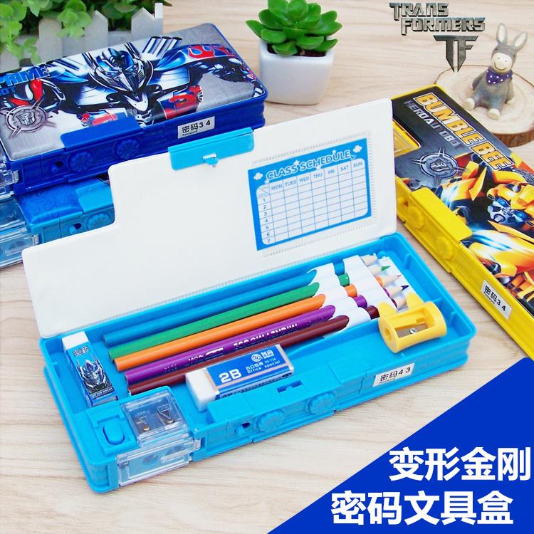 需要用券变形金刚密码锁文具盒小学生文具盒塑料双面卡通多功能笔盒男童多功能密码笔盒儿童男孩