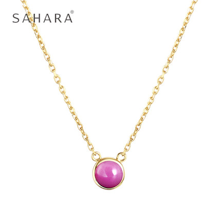 Simple natural purple cloud mother gem necklace girl 925 silver clavicle Chain Pink birthday present