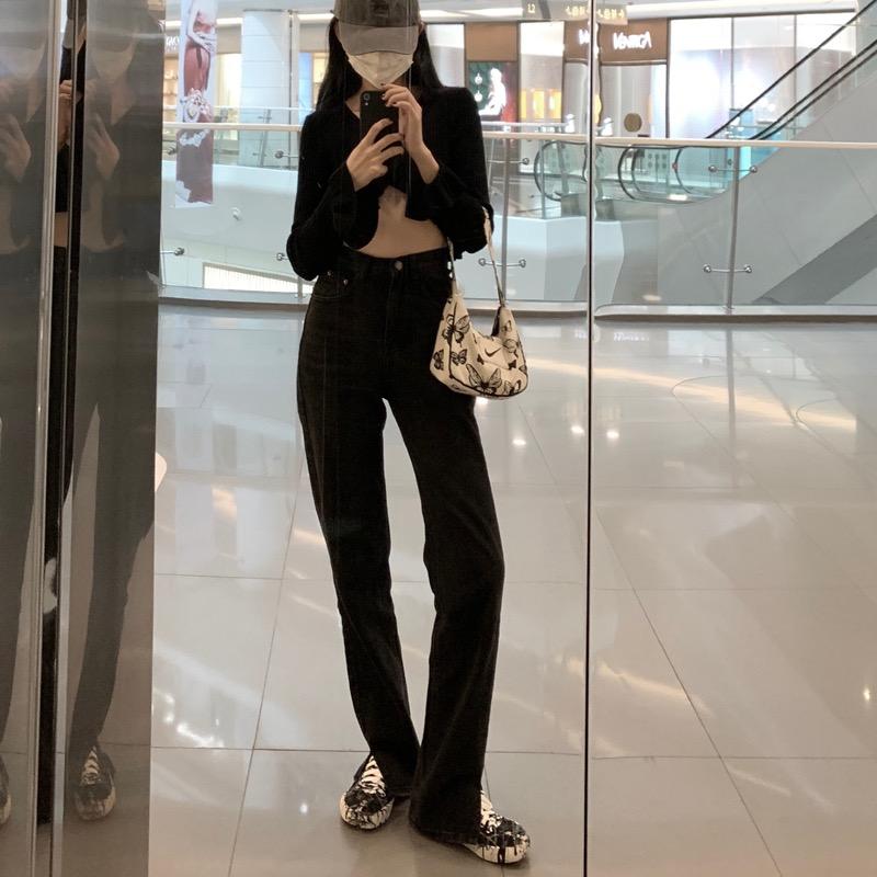 大码高腰黑色直筒牛仔裤女2020新款女装高腰开叉坠感显瘦拖地裤潮