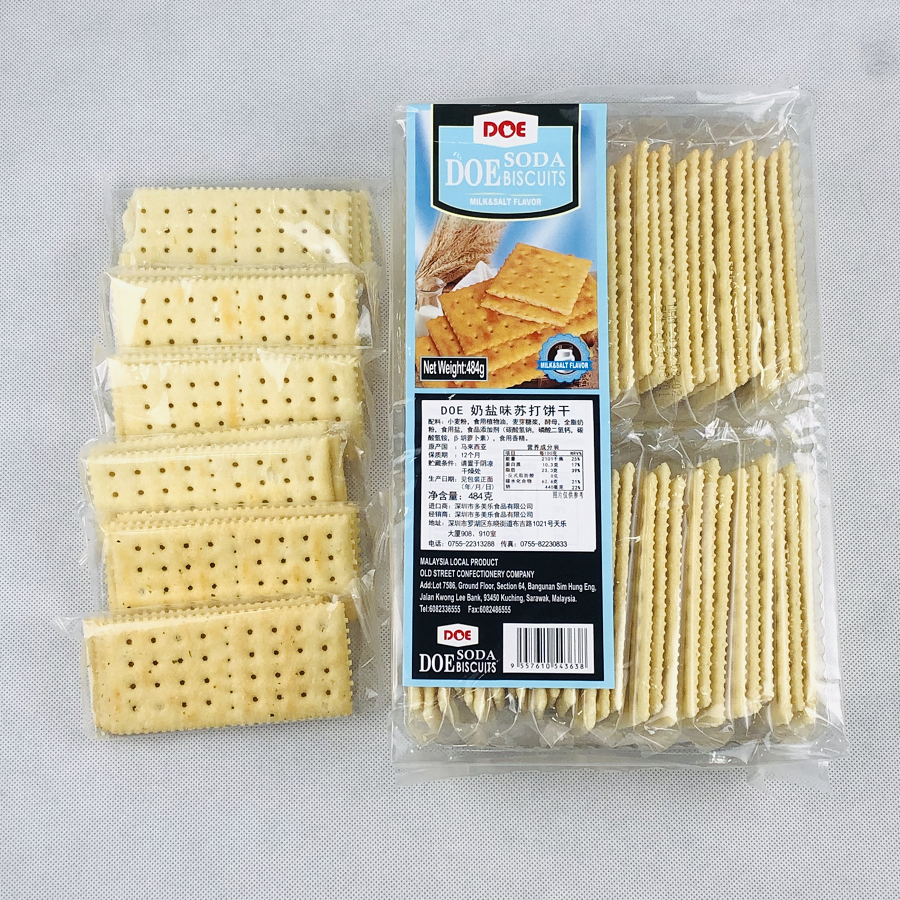 Malaysia imported DOE soda biscuit 484g * 3 Pack milk salt cheese seaweed combed biscuit snack