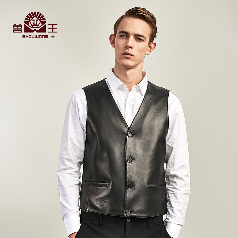 King of beasts autumn and winter leather mens Vest casual slim waistcoat leather jacket