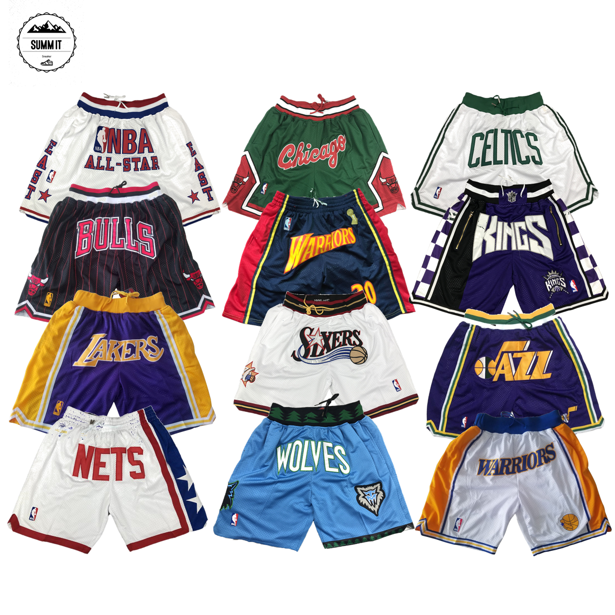 Just don basketball pants retro training pants mens over knee loose high street mesh Embroidered Shorts Jersey