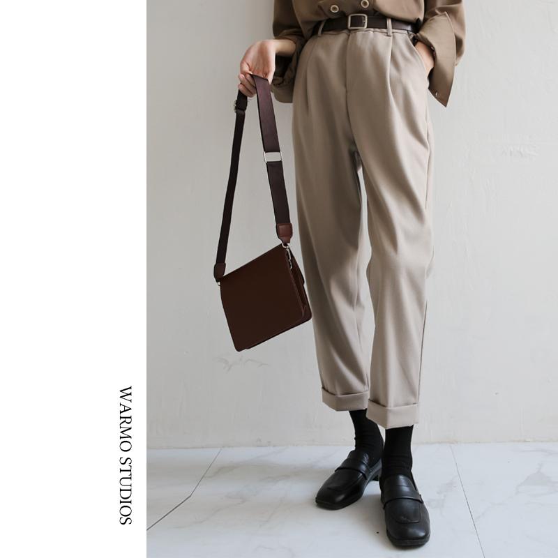 Warmo/3色2019秋冬高腰宽松休闲九分毛呢西装裤直筒老爹哈伦裤女