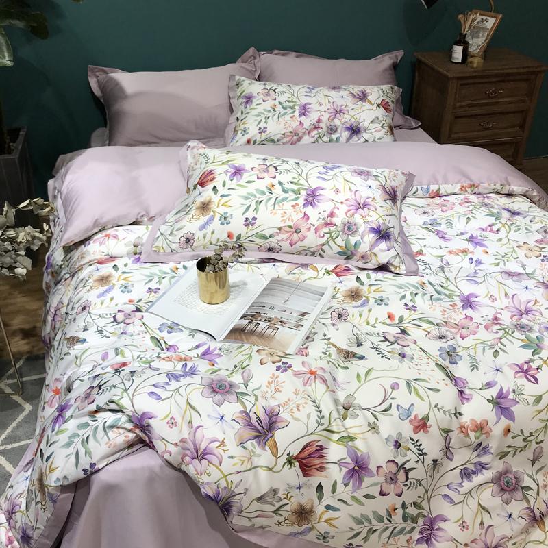 纯棉60支长绒棉实拍数码印花四件套全棉花卉床单被套床上用品2米
