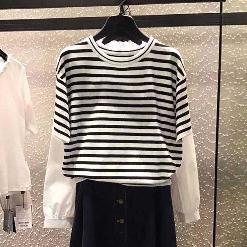 白领哥弟新女装2018夏装新款正品国内代购条纹短袖针织衫T恤女