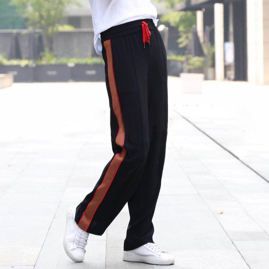 白领哥弟新女装2018夏装新款正品国内代购条纹休闲运动裤校服裤
