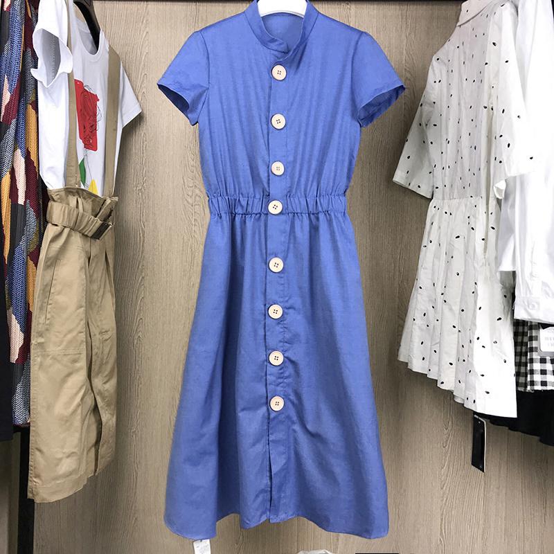 白领哥弟新女装2018夏装新款正品国内代购单排扣立领短袖连衣裙