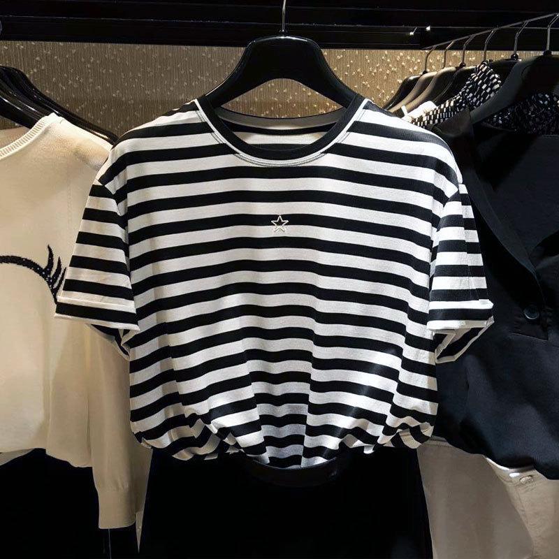 白领哥弟新女装2018夏装新款正品国内代购星星刺绣条纹短袖T恤
