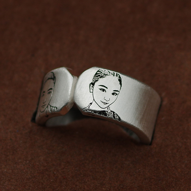 Couple a pair of rings customized creative engraving words Sterling Silver men and women opening simple student photos gifts first jewelry