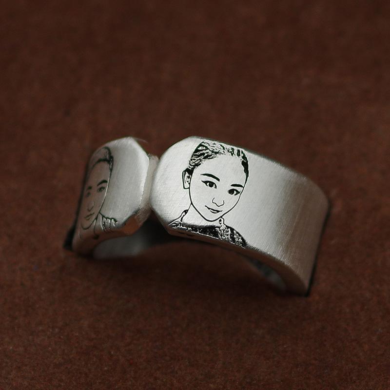 情侣一对戒指定制创意雕刻字纯银男女开口简约学生照片礼物首饰品