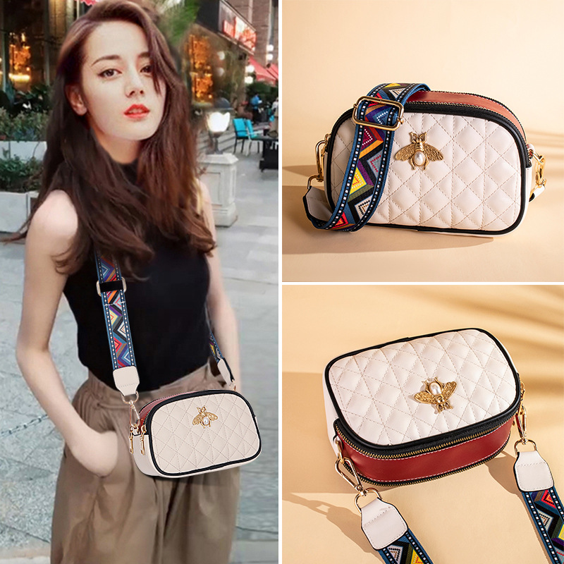 Camera bag small CK leather womens bag new 2019 simple Lingge Crossbody Bag cowhide broadband small square Bag Mini