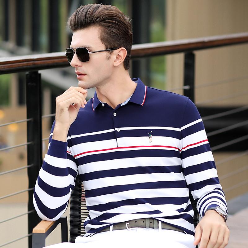 秋季新款中年男士长袖T恤纯棉条纹翻领polo衫男潮宽松时尚休闲装
