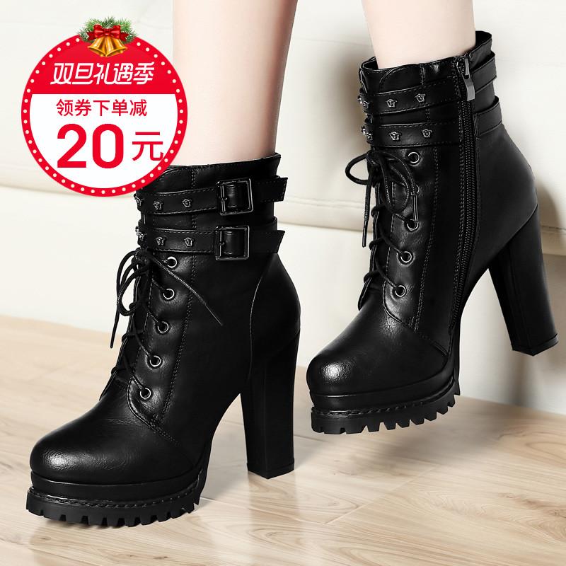 马丁靴女短靴英伦风靴子2018新款皮鞋粗跟高跟鞋秋冬加绒鞋子冬季