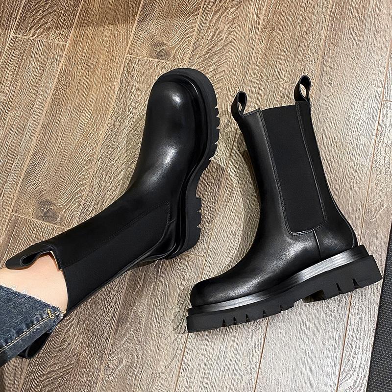 真皮厚底切尔西短靴女马丁靴潮英伦风烟筒中筒靴网红mona同款鞋子