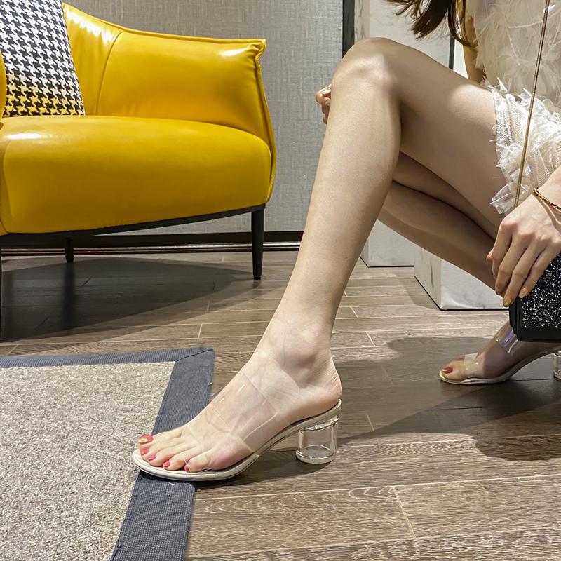 2020年新款涼鞋夏時尚一字帶中跟水晶鞋透明粗跟時裝涼拖鞋女外穿