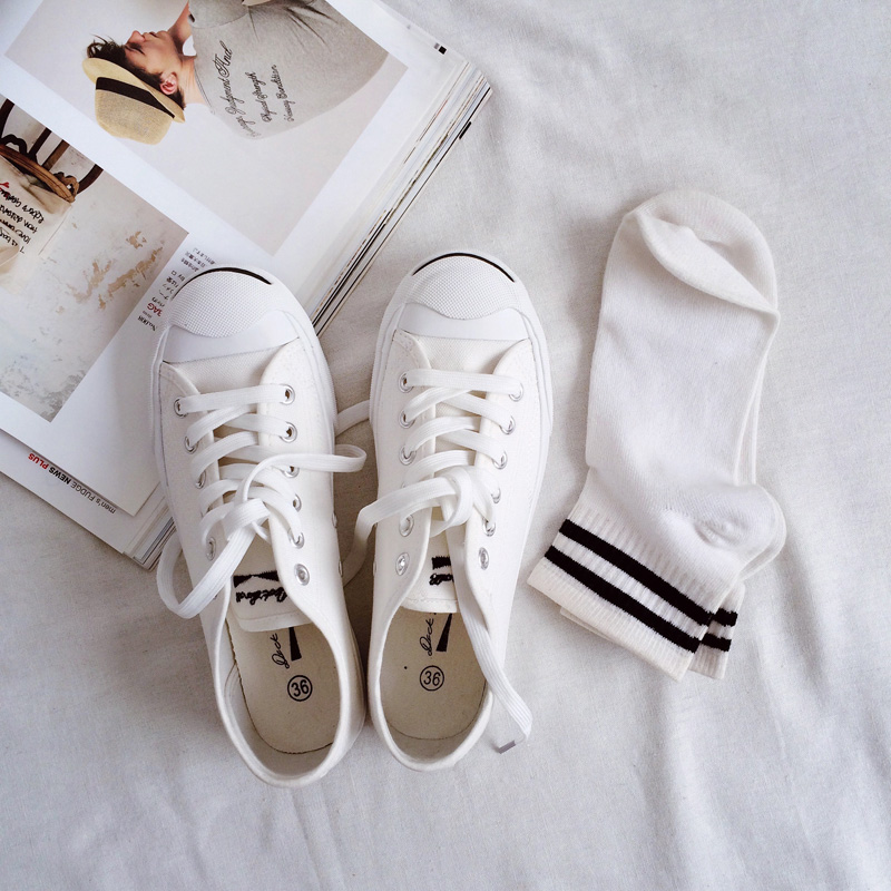 包邮原宿风ulzzang开口笑帆布鞋女韩版男贝壳头运动休闲鞋小白鞋