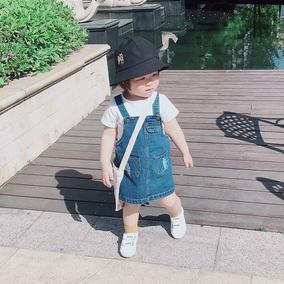 女宝宝背带牛仔春秋装薄款纯棉短裙