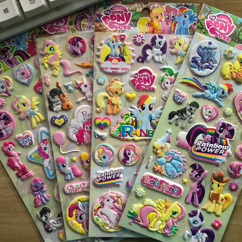 儿童贴纸sticker小马宝莉pony贴粘纸彩虹小马贴画女孩水晶指甲帖