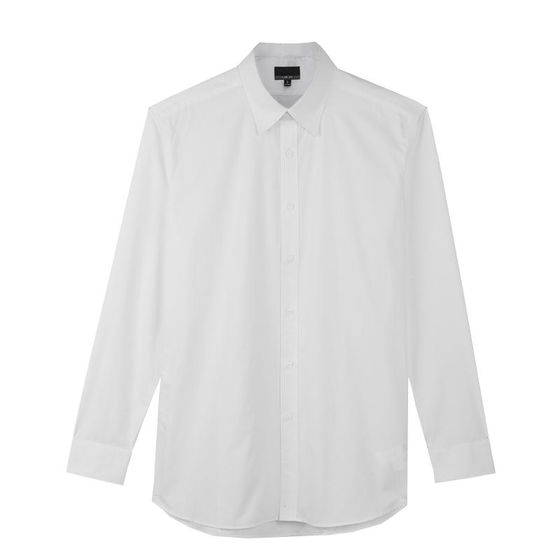 男士衬衣免烫修身秋季商务上班寸结婚职业休闲正装白色衬衫男长袖