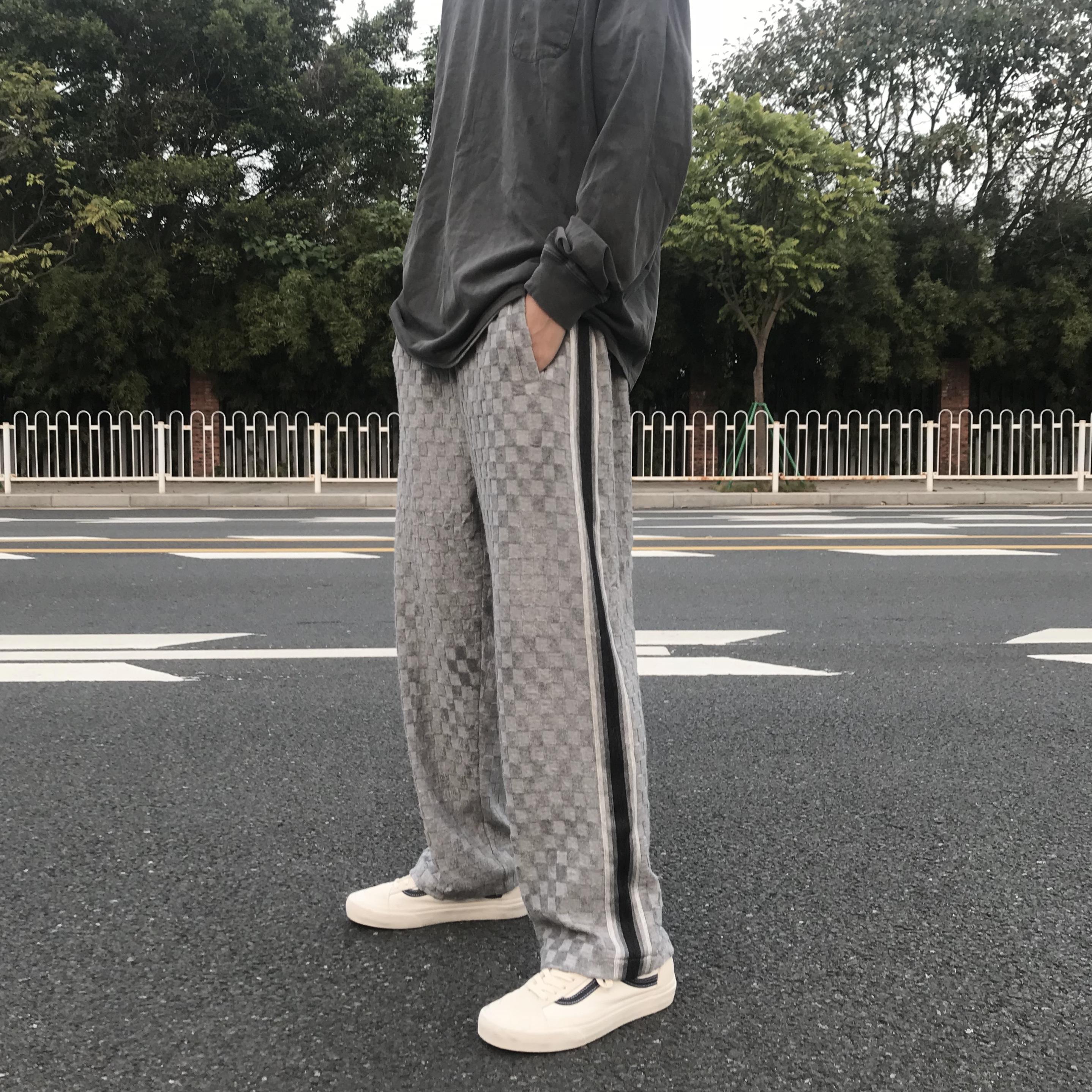 棋盘格提花裤竖条纹织带长裤高街风男女直筒运动休闲裤
