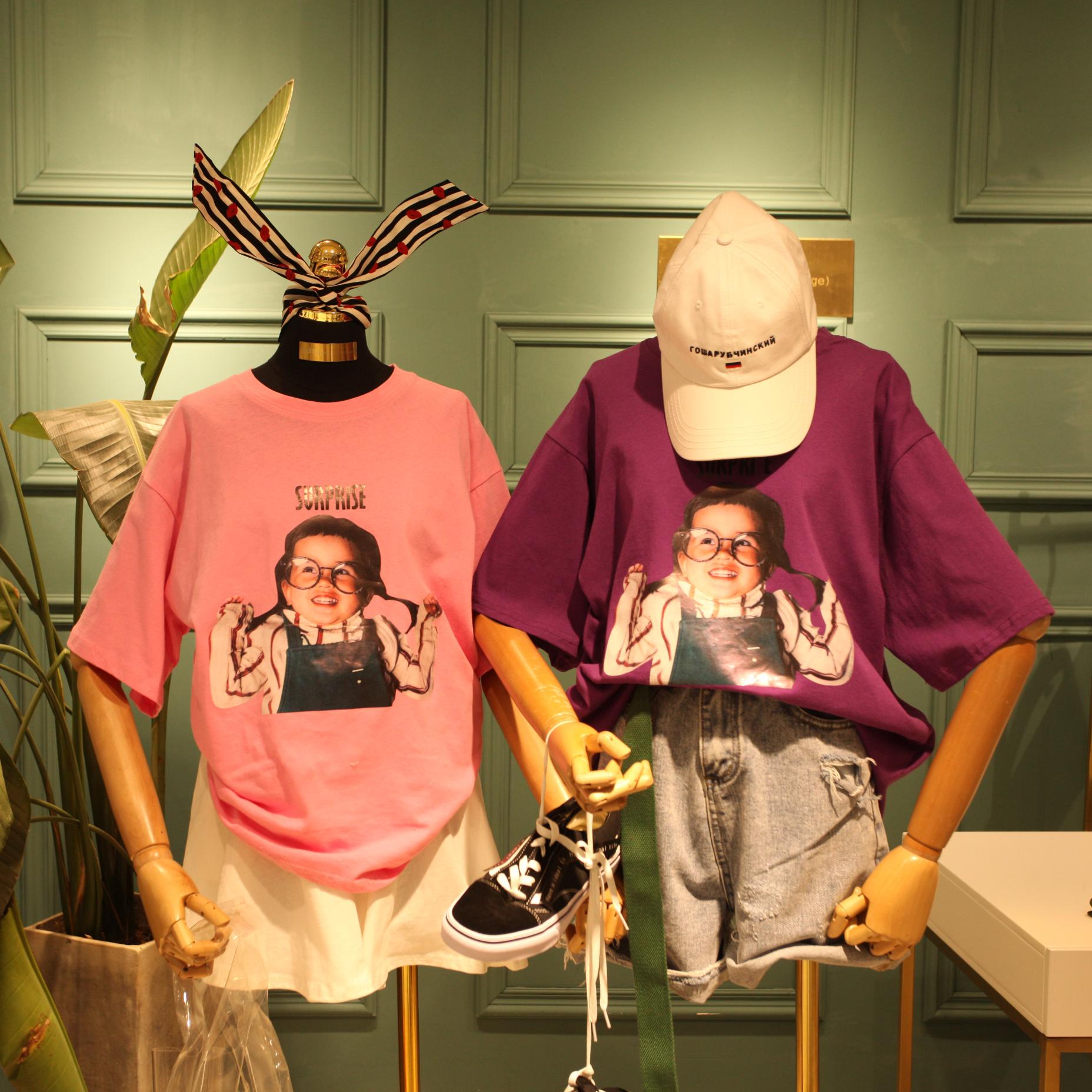 EDTG自制韩国东大门可爱眼镜小女孩字母印花宽松休闲圆领短袖T恤