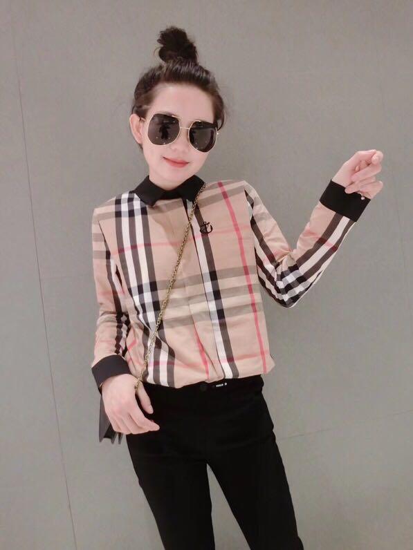 欧洲站2018冬新款女装时尚欧韩洋气加绒格子衬衫大牌打底衫欧货