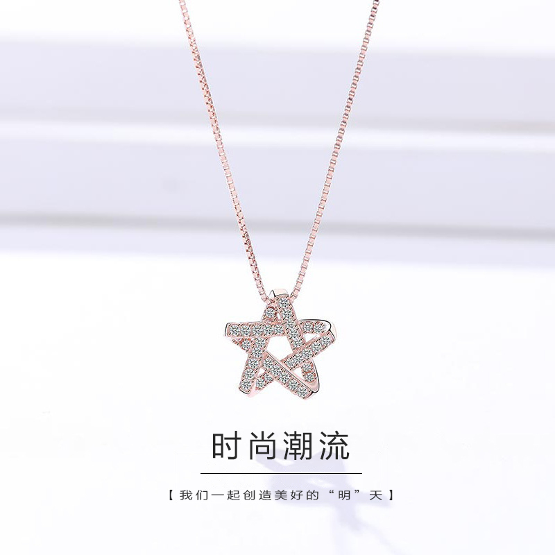 Necklace, female niche design, 925 Sterling Silver INS, simple clavicle chain, new colorfast charm in 2020