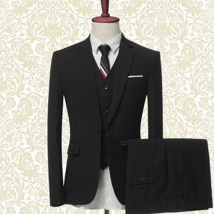 三件套韩版西服套装男帅气修身职业正装服装大学生伴郎团礼服西装