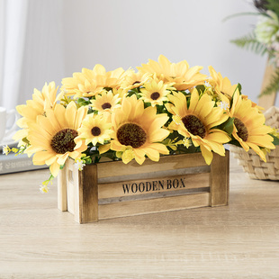 饰布花摆放冰箱摆件黄色桌花 太阳花假花 仿真装 向日葵花 空调上