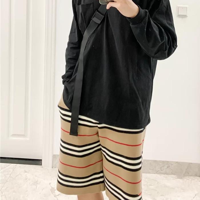2021新款发型师条纹五分短裤男羊毛中裤宽松针织裤宽松卡其色中裤