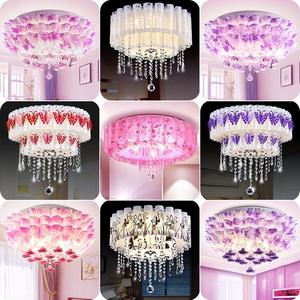 卧室灯简约现代LED客厅餐厅婚房灯温馨浪漫圆形房间水晶吸顶灯具