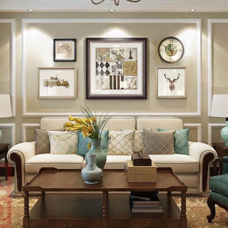 美式客厅装饰画欧式沙发背景墙壁画简美餐厅墙面装饰轻奢风格挂画