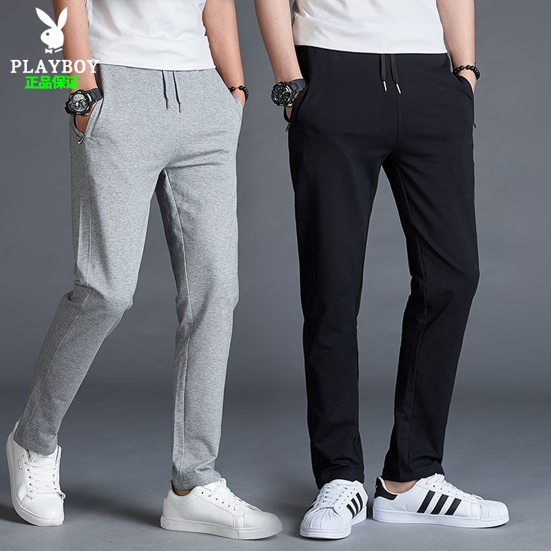 Playboy spring and summer cotton leisure pants mens sportswear youth Korean fashion straight tube versatile fitness
