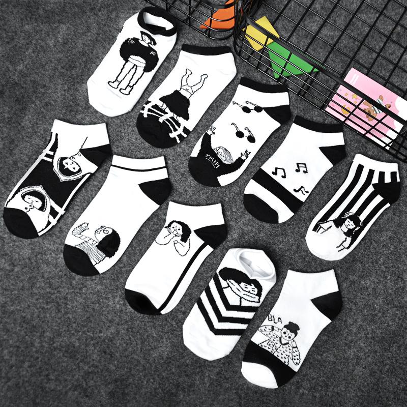 袜子女ins潮漫画卡通棉袜夏薄款学生袜船袜原宿袜子女短袜浅口袜