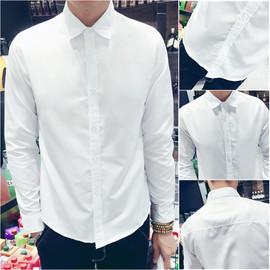 秋季长袖白衬衫男士韩版潮流修身休闲衬衣职业寸衫商务正装工作服图片