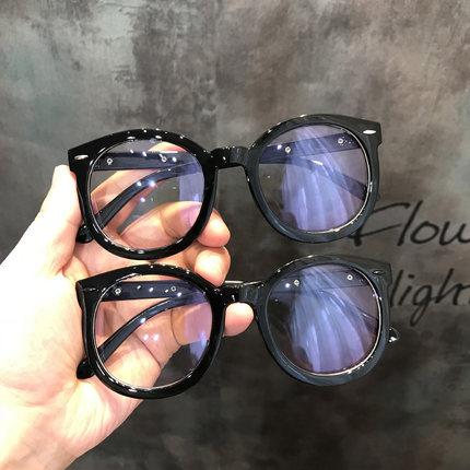 黑色粗框眼镜女新款韩国复古文艺抖音素颜平光镜架近视大圆脸显瘦