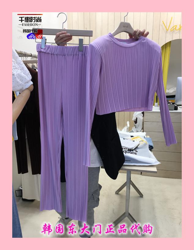 韩国东大门代购女装新款VARIAL 女低腰简洁百搭休闲裤套装均码