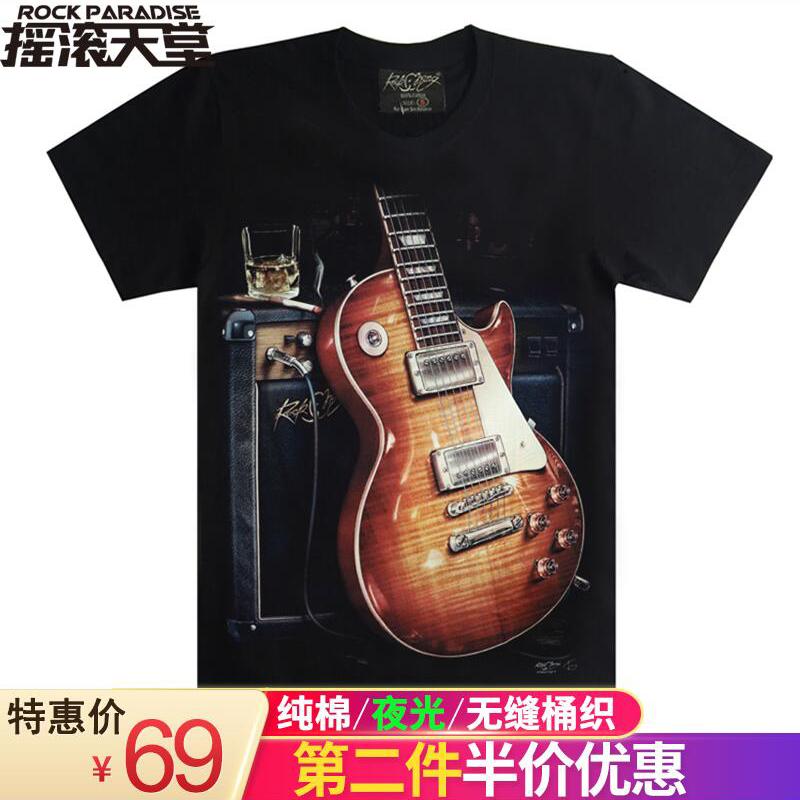 高清印花 新款夏季男款短袖T恤纯棉 吉他摇滚半袖T恤宽松大码潮男
