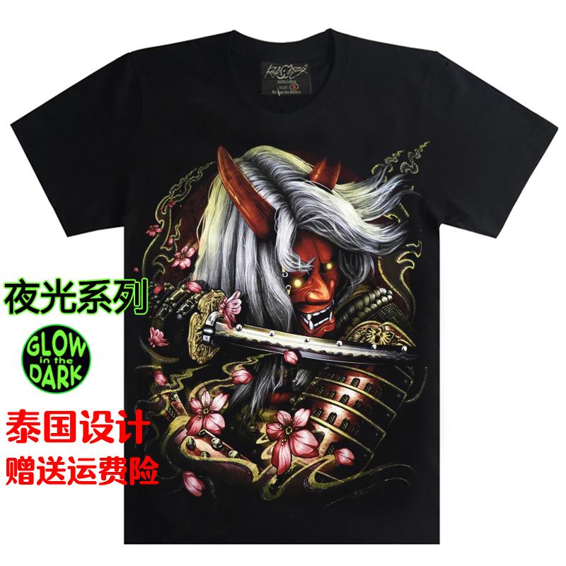泰国进口日系纹身般诺日本武士t恤