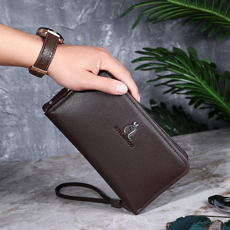 袋鼠男士手包休闲大容量韩版商务手拿包手抓包长款钱包双拉链男包