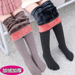 儿童连裤袜加绒加厚女童打底裤秋冬季黑灰色宝宝保暖一体棉裤外穿