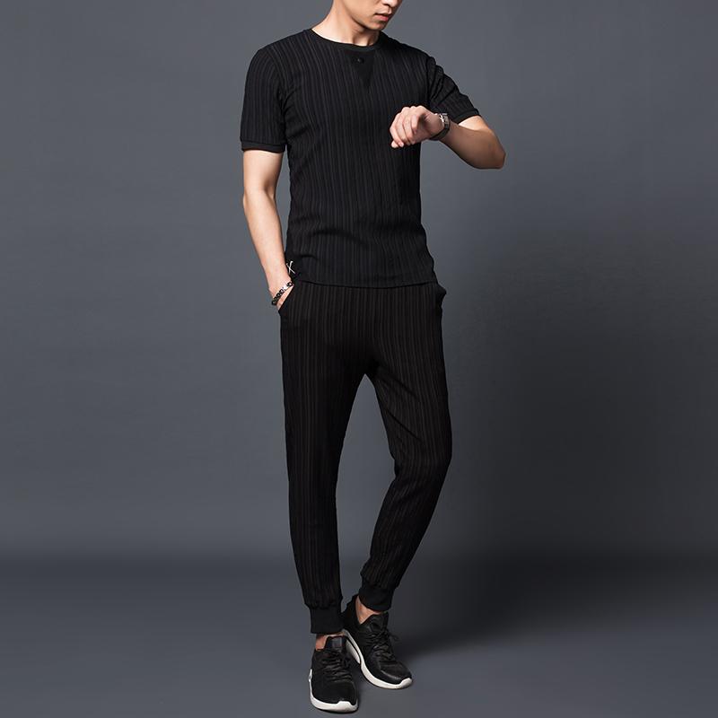冰丝T恤男夏短袖九分裤套装薄款帅气百皱条纹休闲224-TZ195-P75