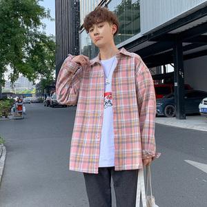 2020夏季新款港风格子韩版潮流宽松长袖衬衫男生休闲衬衣薄款外套