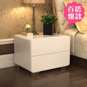 北欧风网红白色烤漆床头柜简约现代储物柜卧室多功能收纳床边柜