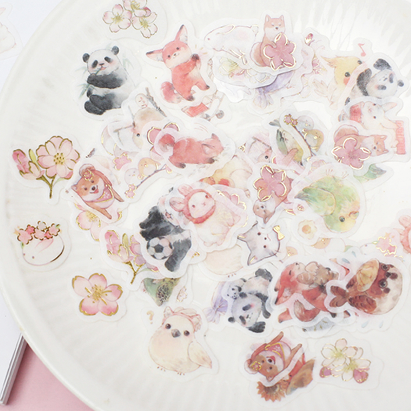 Love of the letter gold stamping and paper sticker package cute animals series cherry rabbit Ji panda hand account decorative stickers