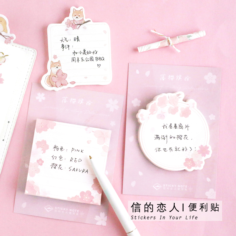 Letter lovers post it notes Luoying colorful series Chai dog cat bird border message notes n times